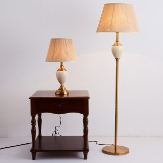 Floor lamp sitting room is contracted and contemporary American new Chinese style western-style sweet household vertical ceramic desk lamp of bedroom the head of a bed