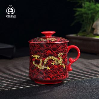 DH jingdezhen tea cups with cover tea household glass ceramic filter office large - capacity glass suits for