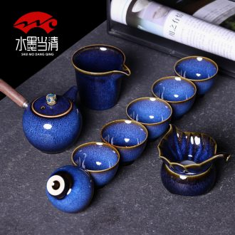 Tea set masterpieces kung fu tea cup 6 lateral ceramic teapot high-grade household gift box office