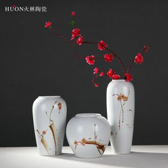 Jingdezhen new Chinese modern ceramic three - piece sitting room of large vases, flower arranging dried flower adornment place adorn article