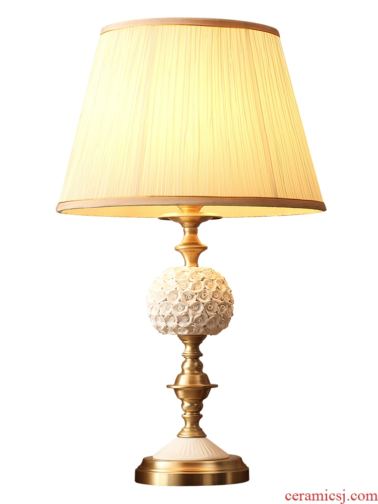 Q Hilton full American cooper ceramic desk lamp bedside lamps and lanterns of I and contracted sitting room bedroom romantic creative household