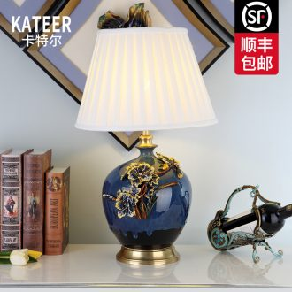 Cartel colored enamel lamp sitting room key-2 luxury type copper ceramic lamp is acted the role of creative villa of bedroom the head of a bed