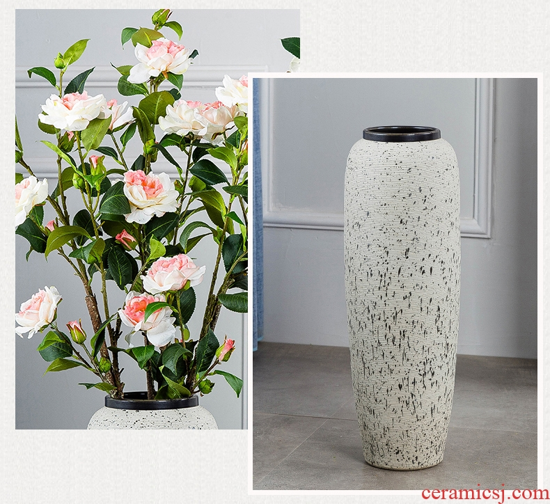 Large ceramic vase light key-2 luxury ground hotel villa living room the dried flower arranging furnishing articles retro nostalgia pottery decoration - 588161472215