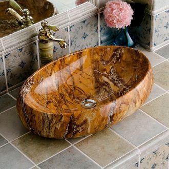 Stage basin oval ceramic imitation marble European household bathroom toilet the pool that wash a face basin, art basin