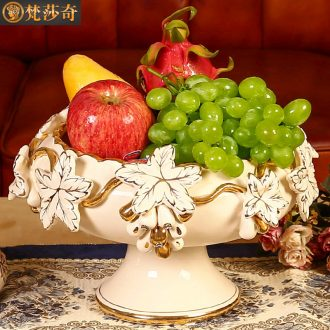 Ou compote sitting room key-2 luxury large household fruit bowl bowl wedding place high creative ceramic compote tea table