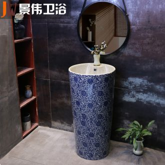 Ceramic basin of pillar type lavatory toilet floor pillar integrated is suing balcony sink for wash basin