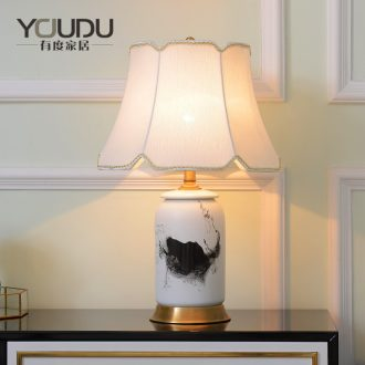 New Chinese style full copper ceramic desk lamp sitting room bedroom bed room artical contracted warmth decoration lamp