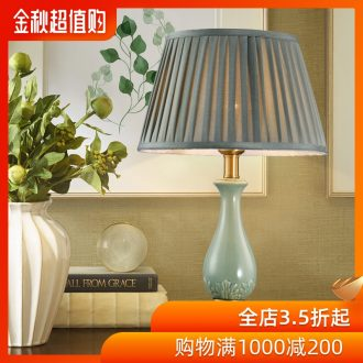American country full copper ceramic desk lamp of creative personality contracted Europe type lamps and lanterns sitting room decorate desk lamp of bedroom the head of a bed
