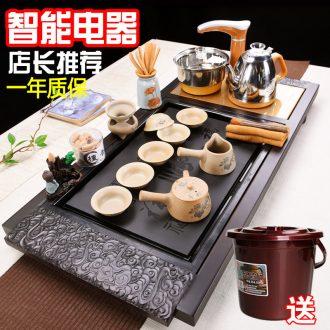 Famed ceramic household electrical purple sand tea set a complete set of contracted and I tea tea stove kung fu tea tray