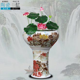 Ceramic aquarium jingdezhen porcelain base creative goldfish bowl high water shallow tortoise cylinder water lily breed fish bowl lotus flowers