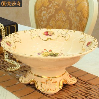 Vatican Sally 's European compote 2018 new key-2 luxury large ceramic fruit bowl sitting room adornment furnishing articles wedding gift