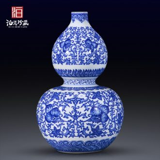 Jingdezhen blue and white antique ceramics lucky bamboo flowers in new Chinese style porch sitting room home decoration vase furnishing articles