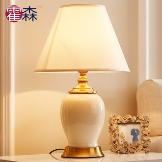 American ceramic desk lamp contracted and I bedroom berth lamp creative nightstand European - style sweet carried a warm light decoration