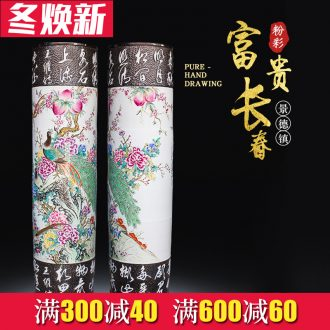 Jingdezhen ceramics powder enamel hand - carved quiver landing big vase villa hotel furnishing articles opening gifts