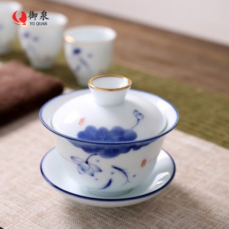 Imperial springs, hand - made tureen large bowl tea cups tea ware ceramic white porcelain three use hand grasp pot of Chinese style
