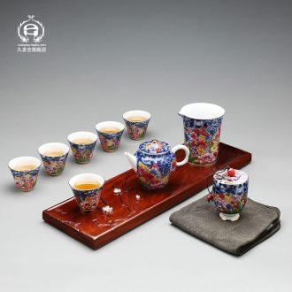 DH tea set kung fu tea set the whole household jingdezhen archaize colored enamel porcelain teapot of a complete set of tea cups