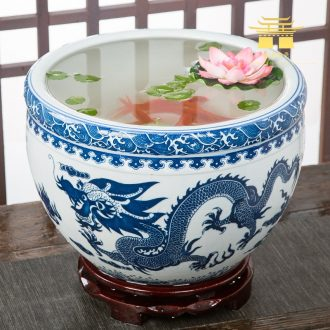 Jingdezhen ceramic aquarium goldfish large blue and white turtle slept GangPen bowl lotus refers to basin of lotus cylinder betelnut POTS