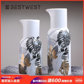 New Chinese style is contemporary and contracted toucan pattern vases, ceramic vase creative decorative furnishing articles sitting room flower arranging flowers