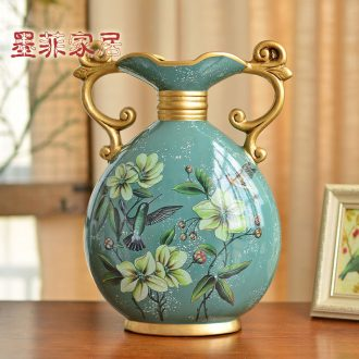 Murphy 's European ceramic ear vase decoration furnishing articles American - style restaurant TV ark, restoring ancient ways is the sitting room porch flower arranging
