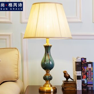 Europe type desk lamp light sweet romance of bedroom the head of a bed warm light adjustable light sitting room fashion ceramic home study