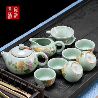 Royal refined pottery and porcelain of a complete set of kung fu tea set suits your porcelain slice your kiln on flower tea kettle Japanese tea cups