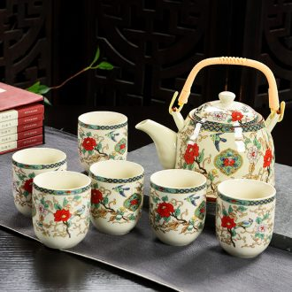 Girder pot of tea set suit household filter ceramic teapot teacup gift company celebration for the opening of a complete set of activities
