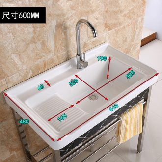 Ceramic wash tub with rub garment board the balcony laundry ChiChao deep wide basin of stainless steel stent washing sink