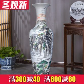 Jingdezhen ceramic hand - made sunrise landscape big vase sitting room floor furnishing articles of Chinese style decoration to the hotel villa