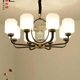 New Chinese style droplight sitting room lights atmosphere home Chinese wind restoring ancient ways dining-room lamp glass ceramic zen copper flower lamps and lanterns