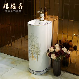 Ceramic column pillar lavabo small toilet basin to post one floor type lavatory basin milu deer