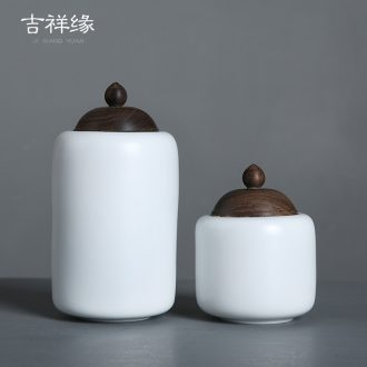 Auspicious caddy fixings ceramic white small portable sealed tank lid ebony receives red POTS of household