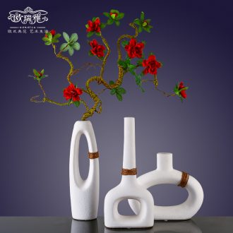 I and contracted ceramic flower vase continental creative living room white dried flowers, American home furnishing articles