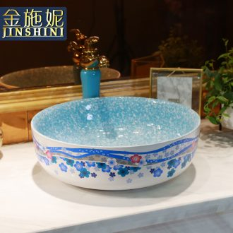 Jingdezhen Nordic stage basin to blue lavabo household lavabo circular single ceramic basin of the basin that wash a face