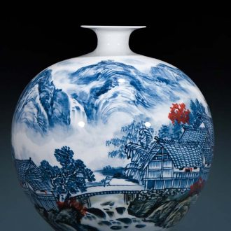 Jingdezhen ceramics vase famous hand - made scenery pomegranate bottles of Chinese style decoration office furnishing articles large living room