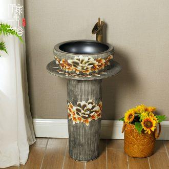 Ceramic basin of pillar type lavatory toilet lavabo, one floor vertical column basin household balcony