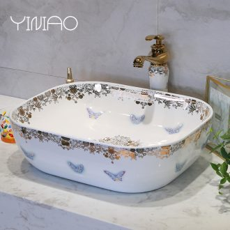 Million birds sanitary ceramic basin sinks art stage home European butterfly face basin sink