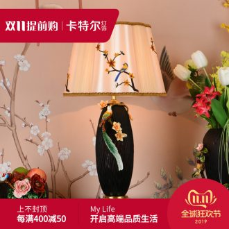 Colored enamel copper all ceramic desk lamp American restoring ancient ways is the sitting room the bedroom of the new Chinese style villa key-2 luxury decorative lamps and lanterns of the head of a bed