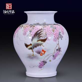 Jingdezhen ceramics hand-painted pastel dried flower vase household living room home TV ark type adornment furnishing articles