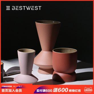 Creative morandi color ceramic vases, soft adornment art furnishing articles example room sitting room vase decoration light of luxury