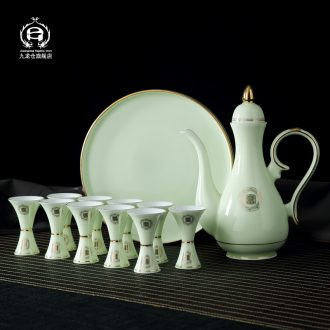 DH jingdezhen porcelain paint wine package hip flask glass jade home wine of antique Chinese style palace
