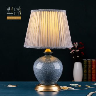 American I and contracted small desk lamp ceramic decoration art full copper designer lamps and lanterns of the sitting room the bedroom of the head of a bed