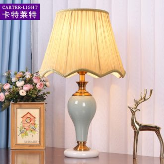 American ceramic desk lamp bedroom nightstand lamp sweet romance creative modern household remote control wedding decoration