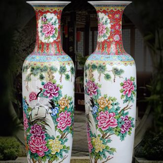 Jingdezhen ceramic vase of large pine crane peony home sitting room adornment flower arranging large-sized hotel furnishing articles