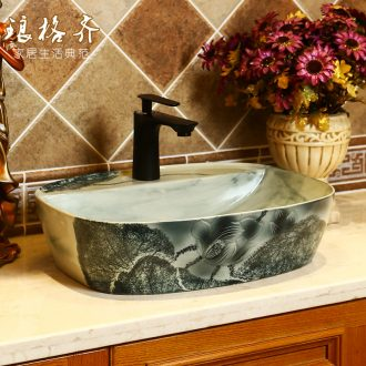 The stage basin of jingdezhen ink retro square table face basin of single toilet ceramic art basin sink