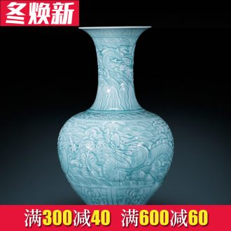 Jingdezhen archaize yongzheng shadow blue its YunLongWen ceramic vases, Chinese style living room decorations landing place