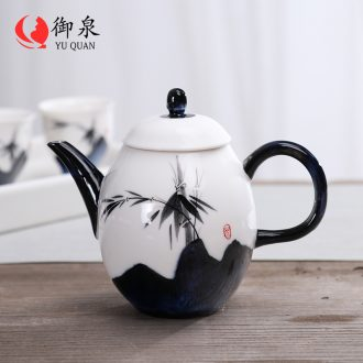 Imperial springs checking ceramic teapot household kung fu tea set filter little teapot hand - made white porcelain pot of Chinese style