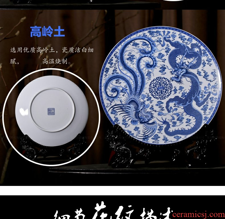Continuous grain of jingdezhen blue and white longfeng home sitting room fashion creative modern decoration decoration ceramic arts and crafts