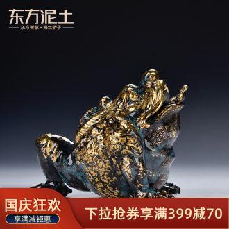 Oriental clay ceramic artisans Zhang Chang teacher Lin works spittor bronze color series art/three feet