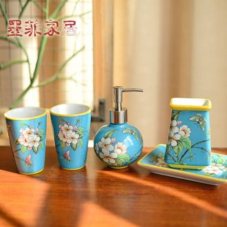Murphy 's new Chinese style classical set manual ceramic sanitary ware has five soft outfit bathroom toilet wash gargle suit furnishing articles