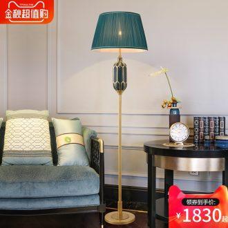 Jingdezhen ceramic full copper lamp light new Chinese style luxury living room atmosphere lamp American sweet bedroom berth lamp